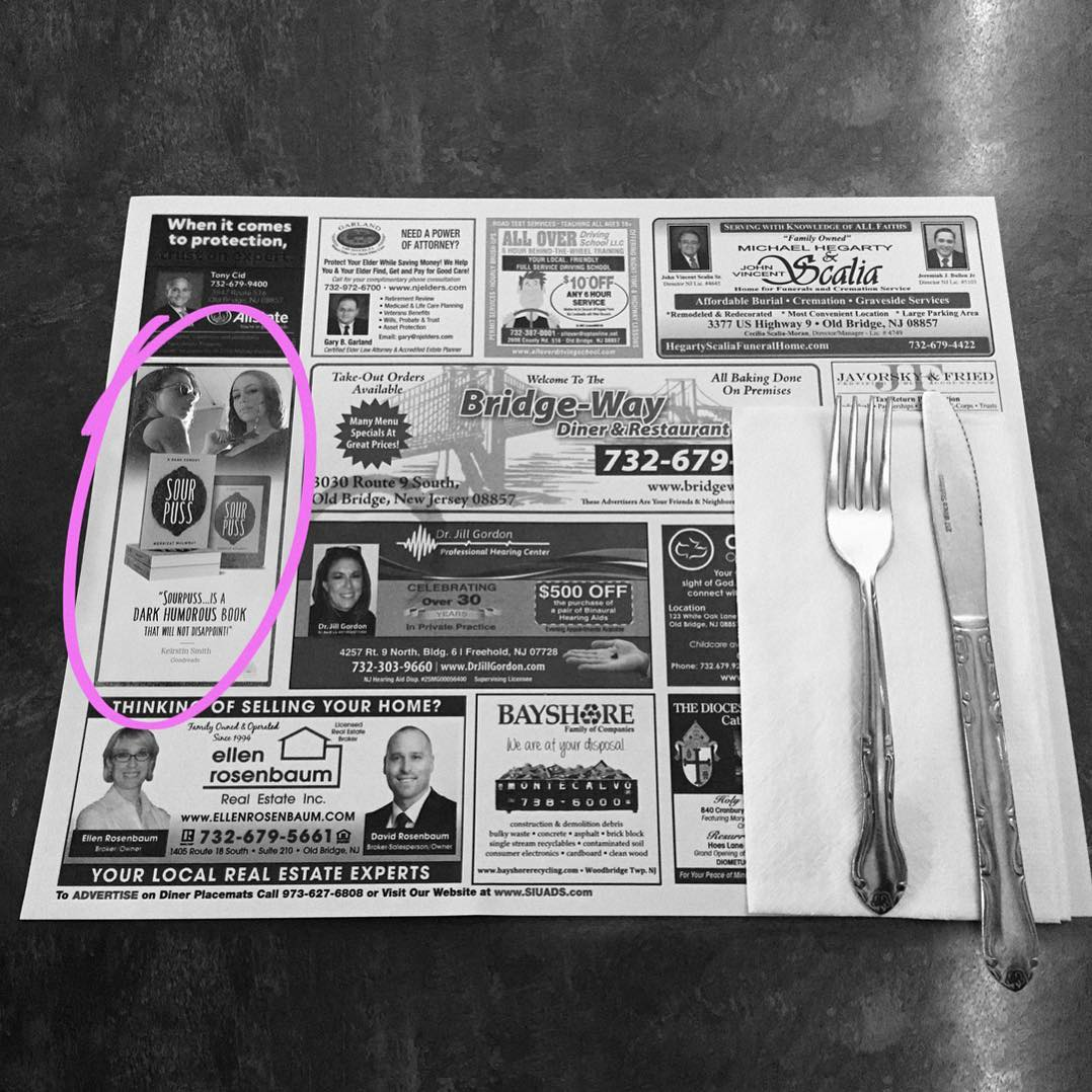 The diners in NJ are the best, the placemats offer the perfect advertising opportunity for indie authors. 😸